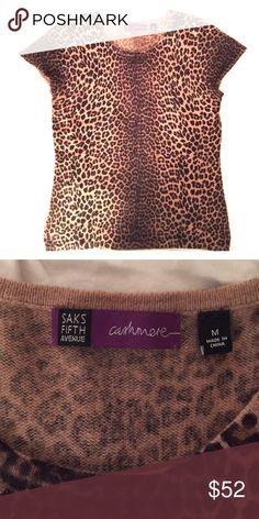 Saks Fifth Avenue cashmere sweater-100%!! Gorgeous leopard Saks Fifth Avenue 100% cashmere sweater!!! Amazing condition! Authentic!! Saks Fifth Avenue Sweaters Crew & Scoop Necks