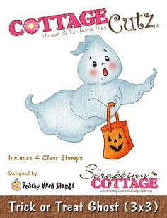 Cottage Cutz-Peechy Keen Dies (w/clear stamps)3x3-Trick or Treat Ghost      Item Number: COT-3x3-PK006  Your Price: $15.95