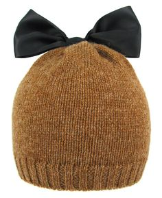 Satin Bow Beanie - Camel :: Bernstock Speirs :: Fashionable hats for men and women :: Made in England