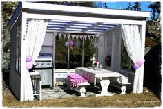 . Backyard Sheds, Lean To, Summer Kitchen, Garden Seating, Outdoor Projects, Dream Garden, Victorian Homes, Outdoor Dining, Pergola