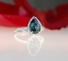 2.28ct pear Peacock green blue color change by EidelPrecious, $2,500.00