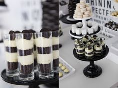 A Blissful Nest Sweet Style Black White birthday 4 {BN Black Book of Parties} Black and White Dessert Table White Dessert Tables, Black Dessert, White Desserts, Black White Parties, Black And White Theme, Black Party, Dessert Party, Dessert Cups, Birthday Desserts