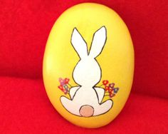 Easter Bunny with Flowers Painted Rock by AfterHourArt on Etsy