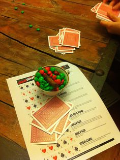 Game Night: Print out the rules of poker so beginners can have a cheat sheet