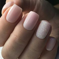 pink nails with glitter accent . pink nails with rhinestones . pink nails with glitter Cute Acrylic Nails, Cute Nails, Pink Shellac Nails, Gel Manicure, Gold Nails, Silver And Pink Nails, Pink Wedding Nails, Baby Pink Nails With Glitter, Blush Pink Nails