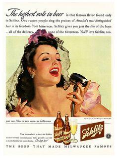 "Schlitz Vintage Ad | ""The highest note in beer!"""