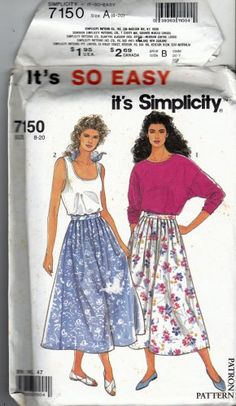 Simplicity 7150 Pattern uncut 8 10 12 14 16 18 20 Side Zip Pleated Skirt Top