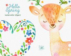 Hola primavera. Acuarela animales y clipart floral ciervos