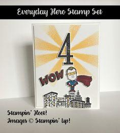 Stampin' Up Kids Birthday Card, Handmade, Everyday Heros, Number of Years, Large Number Framelits, Superhero, Boy