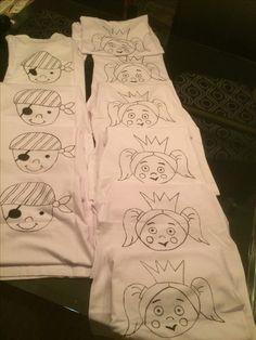 Piraten en prinsessen shirts gemaakt om in te kleuren voor feestje mirthe