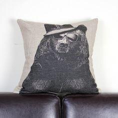 Uncle Bear, Linen Cotton Throw Cushion Cover / Cushion Pillow Cover / Cushion Cover / Pillowcase, 18'' x 18'' / 45cm x 45cm