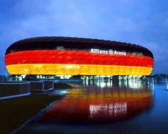 Allianz Arena, home of Bayern Munich. Germany are at the stadium in this picture. Fc Bayern Munich, Soccer Stadium, Football Stadiums, Football Posters, Football Images, German National Team, Germany Football, Grand Parc, National Stadium