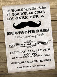 Mustache Bash birthday party invitation- DIY Printable. $10.00, via Etsy.