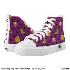 Emoji lady bug snail bee caterpillar polka dots High-Top sneakers