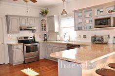 Painting Kitchen Cabinets Light Gray Awesome Painted Kitchen Cabinets Using Paris Grey Chalk Paint by Annie Sloan Pics Annie Sloan Kitchen Cabinets, Chalk Paint Kitchen Cabinets, Kitchen Cabinet Remodel, White Kitchen Cabinets, Kitchen Cabinetry, Kitchen Paint, Kitchen Redo, Kitchen Layout, Grey Cabinets