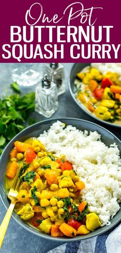 ThisOne Pot Butternut Squash Chicken Curry with coconut milk & chickpeas is a protein-filled heartwarming fall meal that comes together in under 40 minutes! Good Healthy Recipes, Vegan Recipes, Cooking Recipes, Lunch Recipes, Delicious Recipes, Fall Recipes, Indian Food Recipes, Whole Food Recipes, One Pot Dinners