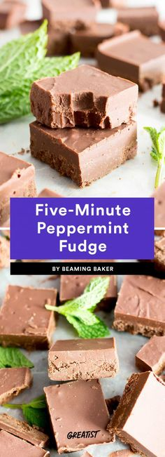 Five-Minute Peppermint Fudge  If you're a Peppermint Patty or Junior Mints fan, you'll love this ridiculously easy fudge recipe. As the name suggests, there's only five minutes of prep time involved, then you let it freeze for an hour. Peppermint extract is the real hero here, giving the chocolate and almond butter fudge a minty fresh taste.