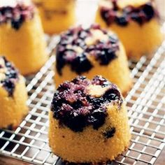 Upside-down, dairy-free blueberry polenta cakes recipe. These are individual allergy-and-diet-friendly cakes, but if you prefer you can use a 23cm cake tin and bake for 1 hour, until a skewer comes out clean. Delicious.