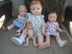 4 Patsy Family Dolls Effanbee Composition 1930's Patsy Ann, Etc