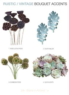rustic vintage wedding bouquet ideas     Aged Lotus Pods, Dusty Miller, Scabiosa Pods, Succulents