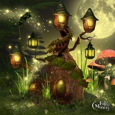Fantasy Art Landscapes, Fantasy Landscape, Fantasy Artwork, Kobold, Mushroom Art, Magic Forest, Cottage Art, Fantasy House, Fantasy Places