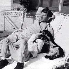 Bobby Kennedy with one of his kids and his dog Frecles