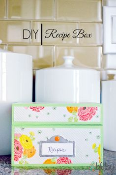 #DIY recipe box using a wooden recipe box, paper, Mod Podge, paint, and a die cut tag. #blitsy