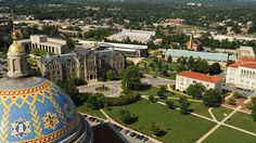 Birdseye view of Catholic University of America in the very large city of Washington, DC