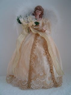 Christmas Angel Doll Tree Topper from Ocala, USA. Shop more products from Ocala, USA on Wanelo. Christmas Angel Decorations, Angel Christmas Tree Topper, Angel Ornaments, Christmas Angels, Vintage Christmas, Christmas Crafts, Christmas Ornaments, Handmade Christmas, Ghost Of Christmas Past