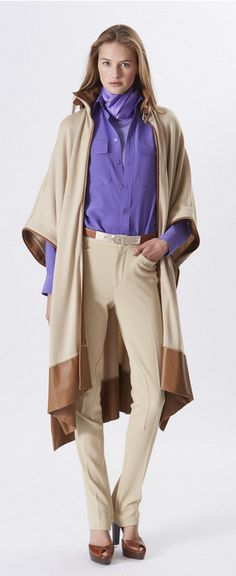 Ralph Lauren Collection Pre-Spring 2016: light tan cashmere cape with leather detail, lavender silk shirt and sand cavalry twill pant