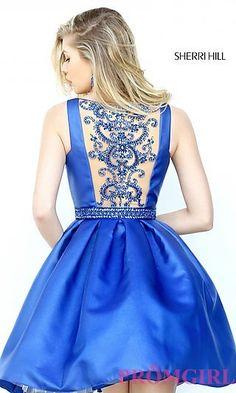 Sherri Hill Short Illusion-Back Homecoming Dress at PromGirl.com