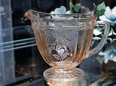 ITEM #RA-140 (Box R-7)  Pink depression glass Mayfair aka Open Rose creamer produced by the Hocking Glass Co 1931-1937.  Creamer measures 3 3/4 and is 5 handle to spout.  Condition: Very good vintage/antique condition with typical wear due to age and handling. No chips. Glass is nice and clear. Pattern is very good as well. One air bubble in handle.  **** I have purchased an estate full of glassware, I have more of this pattern as well as other glass. If you are looking for somethin...