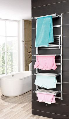 Discover recipes, home ideas, style inspiration and other ideas to try. Small Space Bathroom, Bathroom Kids, Laundry In Bathroom, Drying Rack Laundry, Clothes Drying Racks, Bathroom Counter Organization, Drying Room, Space Saving Kitchen, Space Saving Furniture
