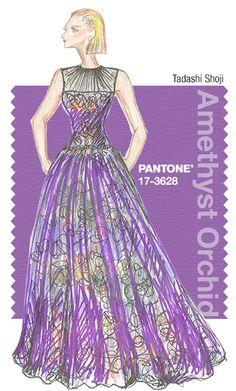 Tadashi Shoji in Pantone Amethyst Orchid - FALL 2015 PANTONE's FashionColorReport