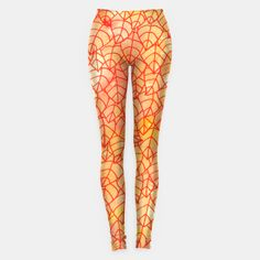 """""""Autumn foliage"""" Leggings by Savousepate on Live Heroes #leggings #leggins #pants #clothing #apparel #orange #yellow #red #foliage #leaves #nature #autumncolors #fallcolors #pattern #drawing #watercolor"""