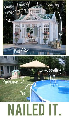 Small Patio Decorating Ideas: A humorous graphic comparing a gorgeous pool house with a small, unattractive backyard