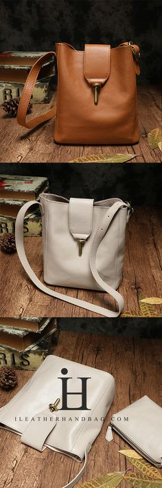 e0cd0016a9e0 Handmade White Leather Bucket Bags Shoulder Purses Leather Bags