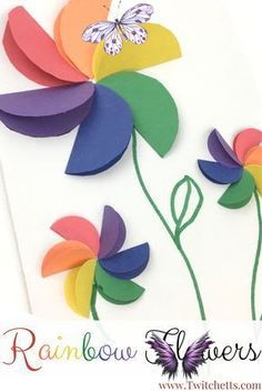 How to make easy rainbow paper flowers for kids - Twitchetts El işi<br> These Paper Craft Flowers are made with construction paper. These rainbow paper flowers are perfect for preschoolers, kindergarteners, and kids of all ages. Use them to create fun pictures, mother's day cards, or a fun spring craft. Paper Flowers For Kids, Craft Flowers, Flower Crafts, Spring Crafts For Kids, Kids Crafts, Rainbow Paper, Mothers Day Cards, Construction Paper, Make It Simple