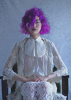 Love her outfit and bright purple hair. Creative Hairstyles, Funky Hairstyles, Bright Purple Hair, Short Hair Cuts, Short Hair Styles, Real Costumes, Fantasy Hair, Creative Colour, Unicorn Hair