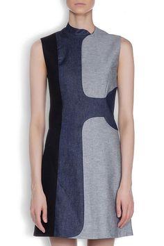 VICTORIA BECKHAM JEANS - Графичное джинсовое платье-мини комбинированных оттенков, на подкладке в Интернет-магазине NAME'S