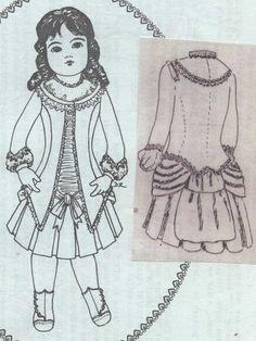 19Antique French Bru Jumeau Doll 1886 Bustle Dress Jacket Pattern German Child | eBay