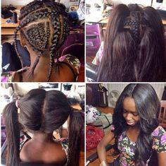 Vixen-hair style. Sew-in weave.