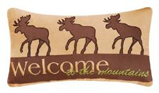 """Welcome to the Mountains Cabin Nights Moose Pillow 10"""" x 20"""""""