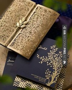 So awesome - Invitaciones de Boda These gold lasercut wedding invitations are gorgeous! I love the formality of the deep purple and gold mixed with the art deco print and tree theme | CHECK OUT THESE OTHER SWEET IDEAS FOR GREAT Invitaciones de Boda AT WEDDINGPINS.NET | #InvitacionesdeBoda #Invitaciones #boda #weddings #invitations #weddingvows #vows #tradition #nontraditional #events #forweddings #iloveweddings #romance #beauty #planners #fashion #weddingphotos #weddingpictur