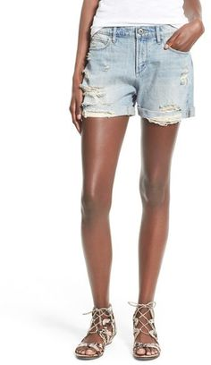 $54, Articles Of Society Jimmy Distressed Denim Shorts. Sold by Nordstrom. Click for more info: https://lookastic.com/women/shop_items/422780/redirect