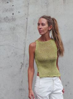 Items similar to pale green tank / pale green cropped tank / pale greene cotton tank / pale green vest READY to SHIP size SMALL on Etsy Crochet Bikini, Knit Crochet, Quoi Porter, Green Vest, Summer Knitting, Panzer, Knitting Accessories, Knit Fashion, Little Girl Dresses