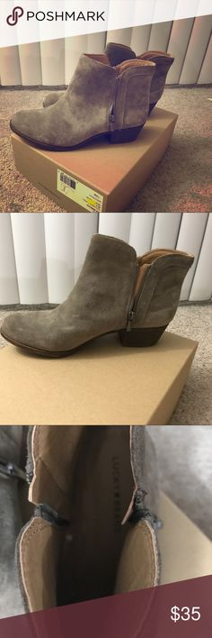 Size 12 women's Lucky Brand boots or booties New with tags and box from Nordstrom Rack! I love them, but my feet are just a tad wide for them and I have a pair that fits better! So these need a good home!  Perfect to wear for fall with a pair of jeans, some leggings, maybe even a sweater dress. The possibilities are limitless! Lucky Brand Shoes Ankle Boots & Booties