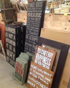 Wooden Signs, some humorous, some sweet. #SoutheasternSalvage #HomeEmporium #homedecor