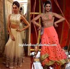 Deepika's Screen Awards performance saw her in three different lehengas with two of them being white.  One of the white lehengas featuring mirror work was an Arpita Mehta but that wasn't the only Mehta she donned. She also wore another mirror work choli by the designer but paired the coral top with a lehenga from Mayyur Girrotra. The mirrorwork on it though was done by Arpita.
