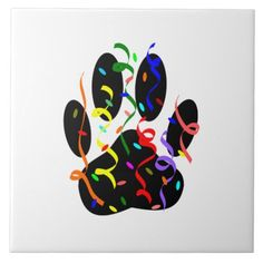 Sold! Dog Paw Print With Confetti And Streamer ceramic tile. (Nov. 12)